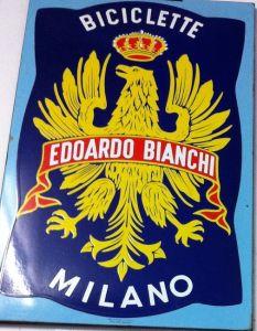 "Insegna ""Edoardo Bianchi"" in lamiera anni 60"